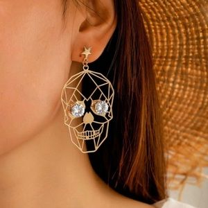 3/$30 💛 Abstract Rhinestone Skull Earrings